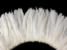 "2.5 Inch Strip -  8-10"" WHITE Strung Bleach Coque Tails Feathers"