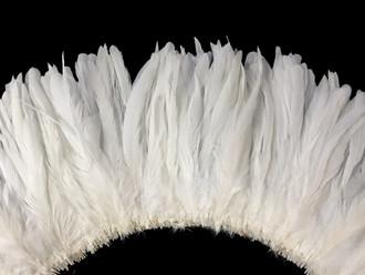 "2.5 Inch Strip -  8-10"" WHITE Strung Bleach Coque Tails Feathers"