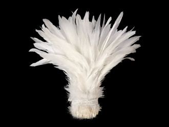 1/2 Yard -  WHITE Strung Natural Bleach Coque Tails Wholesale Feathers (bulk)