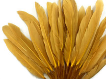 1/4 Lb. - Old Gold Dyed Duck Cochettes Loose Wing Quill Wholesale Feather (Bulk)