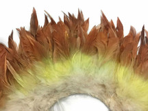 2 Inch Strip - OLIVE BROWN Ombre Bleached and Dyed Strung Rooster Schlappen Feathers