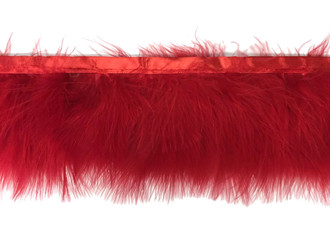 Red Marabou Turkey Fluff Feather Fringe Trim