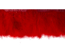 1 Yard - Red Marabou Turkey Fluff Feather Fringe Trim