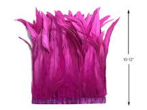 "1 Yard - 10-12"" Hot Pink Bleach Coque Tails Long Feather Trim (Bulk)"