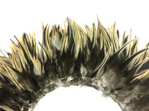 4 Inch Strip - Natural Golden Badger Strung Chinese Rooster Saddle Feathers