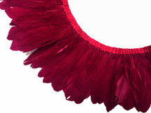 1 Yard - Burgundy Goose Pallet Parried Dyed Feather Trim
