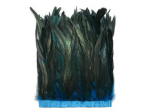 """1 Yard - 10-12"""" Turquoise Blue Dyed Over Natural Coque Tails Long Feather Trim (Bulk)"""