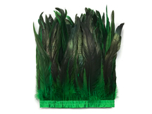 "1 Yard - 10-12"" Kelly Green Dyed Over Natural Coque Tails Long Feather Trim (Bulk)"