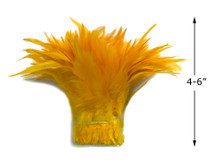 """1 Yard – 4-6"""" Dyed Golden Yellow Strung Chinese Rooster Saddle Wholesale Feathers (Bulk)"""