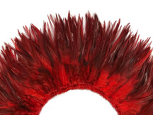 "4 Inch Strip - 6-7"" Red Strung Chinese Rooster Saddle Feathers"