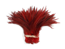 "1 Yard - 6-7"" Red Over Natural Strung Chinese Rooster Saddle Wholesale Feathers (Bulk)"
