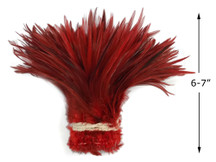 """1 Yard - 6-7"""" Red Dyed Over Natural Strung Chinese Rooster Saddle Wholesale Feathers (Bulk)"""