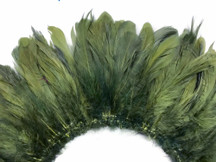 4 Inch Strip - Olive Green Strung Rooster Schlappen Feathers