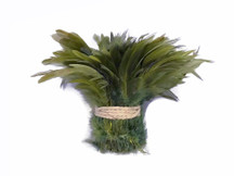 1 Yard - Olive Green Dyed Strung Rooster Schlappen Wholesale Feathers (Bulk)