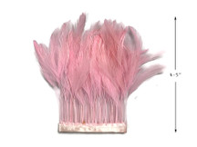 1 Yard - Light Pink Stripped Rooster Hackle Wholesale Feather Trim (Bulk)