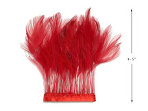 1 Yard - Red Stripped Rooster Hackle Wholesale Feather Trim (Bulk)
