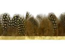 1 Yard - Mustard Yellow Guinea Hen Plumage Feather Trim
