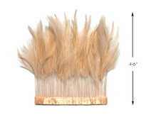 1 Yard - Beige Stripped Rooster Hackle Wholesale Feather Trim (Bulk)