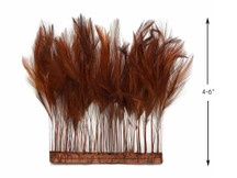 1 Yard - Brown Stripped Rooster Hackle Wholesale Feather Trim (Bulk)