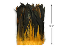 """1 Yard - 10-12"""" Golden Yellow Dyed Over Natural Coque Tails Long Feather Trim (Bulk)"""