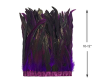 "1 Yard - 10-12"" Purple Dyed Over Natural Coque Tails Long Feather Trim (Bulk)"
