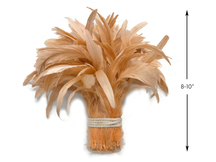 1/2 Yard -  Champagne Strung Natural Bleach And Dyed Coque Tails Wholesale Feathers (Bulk)