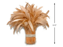"1/2 Yard -  8-10"" Champagne Strung Natural Bleach & Dyed Rooster Coque Tail Wholesale Feathers (Bulk)"