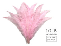 "1/2 Lb - Light Pink Large Ostrich Spads Wholesale Feathers 20-28"" (Bulk)"