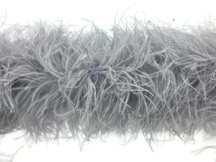 2 Yards - Light Gray 3 Ply Ostrich Medium Weight Fluffy Feather Boa