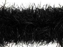 2 Yards - 5 Ply Black Heavy Weight Ostrich Fluffy Feather Boa