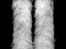 2 Yards - 10 Plys White Ostrich Extra Large Heavyweight Feather Boa