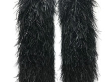2 Yards - 10 Plys Black Ostrich Extra Large Heavyweight Feather Boa