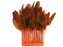 1 Yard - Orange Chinchilla Stripped Coque Tail Feathers Wholesale (Bulk)
