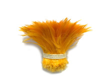 1 Yard - Golden Yellow Strung Rooster Neck Hackle Wholesale Feathers (Bulk)