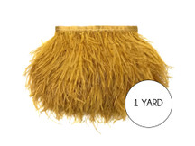 1 Yard - Antique Gold Ostrich Fringe Trim Wholesale Feather (Bulk)