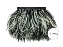 10 Yards - Black & White Ostrich Fringe Trim Wholesale Feather (Bulk)