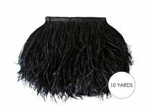 10 Yards - Black Ostrich Fringe Trim Wholesale Feather (Bulk)