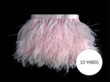 10 Yards - Baby Pink Ostrich Fringe Trim Wholesale Feather (Bulk)