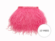 10 Yards - Candy Pink Ostrich Fringe Trim Wholesale Feather (Bulk)