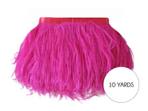 10 Yards - Hot Pink Ostrich Fringe Trim Wholesale Feather (Bulk)