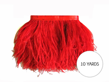10 Yards - Red Ostrich Fringe Trim Wholesale Feather (Bulk)
