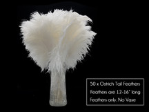 "50 Pieces - 12-16"" Snow White Ostrich Tail Centerpiece Costume Wholesale Feathers (Bulk)"
