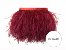 10 Yards - Burgundy Ostrich Fringe Trim Wholesale Feather (Bulk)