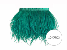 10 Yards - Ocean Green Ostrich Fringe Trim Wholesale Feather (Bulk)