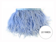 10 Yards - Light Blue Ostrich Fringe Trim Wholesale Feather (Bulk)