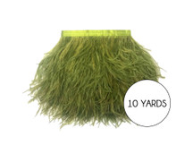 10 Yards - Olive Green Ostrich Fringe Trim Wholesale Feather (Bulk)