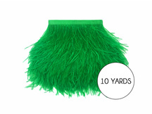 10 Yards - Kelly Green Ostrich Fringe Trim Wholesale Feather (Bulk)
