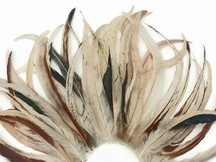 "1 Pack -  10-14"" Natural Beige Mix Coquetail Strung Rooster Feathers 0.25 Oz."