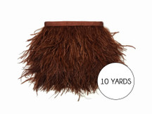 10 Yards - Brown Ostrich Fringe Trim Wholesale Feather (Bulk)