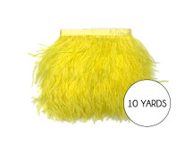 10 Yards - Yellow Ostrich Fringe Trim Wholesale Feather (Bulk)